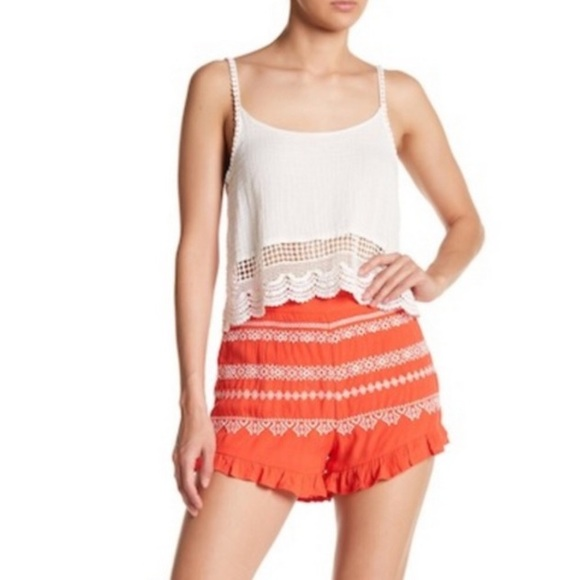 Anthropologie Pants - Anthropologie Moon River Embroidered Shorts M NWT